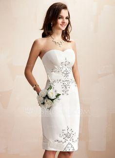 Vestidos de noiva - $136.49 - Tubo Coração Coquetel Cetim Vestido de noiva com Bordado Lantejoulas (002012673) http://jjshouse.com/pt/Tubo-Coracao-Coquetel-Cetim-Vestido-De-Noiva-Com-Bordado-Lantejoulas-002012673-g12673