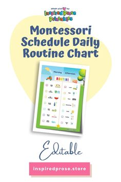 Customize and print this visual routine chart to help your child follow a daily flow without the power struggles or trying to avoid meltdowns. #Editable#MontessoriSchedule#DailyRoutineChart#kids #daily #schedule #dailywork
