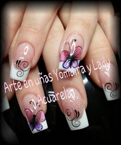 Top Nails Design My Second Favorite Animal Nail Designs, Green Nail Designs, Nail Designs Spring, Cute Nail Designs, Daisy Nail Art, Butterfly Nail Art, Cute Nails, Pretty Nails, Nail Picking