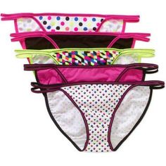 b8de7da14a27 No Boundaries - No Boundaries Cotton Stretch Ladies String Bikini Panty, 5  pack - Walmart.com