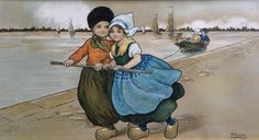 Florence Hardy antique print, Dutch children, rare. Panoramic print framed, behind glass, vibrant colors, nursery, dutch roots door JoHulsteinFinePrints op Etsy