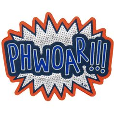 ANYA HINDMARCH Phwoar Sticker found on Polyvore featuring home, home decor, office accessories, anya hindmarch, blue notebook, anya hindmarch stickers and phone stickers