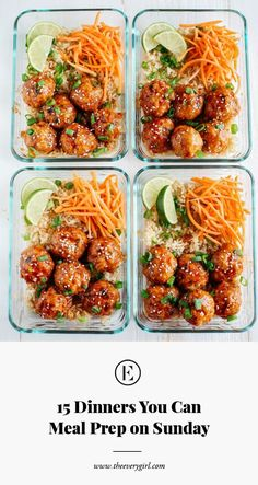 Healthy Dinner Recipes Discover 15 Dinners You Can Meal Prep on Sunday - The Everygirl By the time youve commuted home from work dropped your keys and rifled through the mail chances are you want Sunday Meal Prep, Lunch Meal Prep, Meal Prep Bowls, Sunday Dinners, Meal Prep Dinner Ideas, Weekly Food Prep Ideas, Sunday Night Dinner Ideas, Meal Prep Salads, Meatball Dinner Ideas