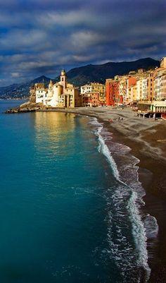 Camogli beach, a small Italian fishing village and tourist resort located on the west side of the peninsula of Portofino