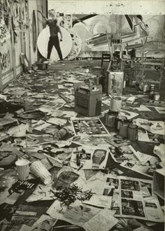 Cannot say how much I love this.  James Rosenquist painting in his studio, 1967