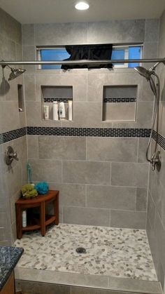 49 Luxurious Tile Shower Design Ideas For Your Bathroom is part of Master bathroom shower - Suppose you just moved into a new home It is the home of your dreams with one exception; Master Bathroom Shower, Modern Bathroom, Bathroom Gray, Small Bathrooms, Small Baths, Shower Walls, Shower Niche, Diy Shower, Narrow Bathroom
