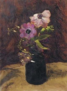 A still life with anemones in a bottle, 1940, Jan Altink.  Dutch (1885-1978)| Artistic Moods