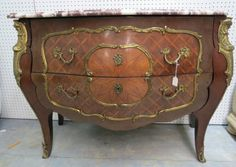 Louis XV Style Bronze Mounted Marble Top 2 Drawer : Lot 472