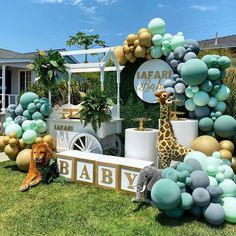 """Party Ideas,decor inspirations on Instagram: """"Safari vibes.!! do you like it? Yes ...no? . Follow @glamlifeparty for more inspiring content  Photo credit: @bizziebeecreations 👌🏾 .…"""" Paper Party Decorations, Gender Reveal Party Decorations, Girl Baby Shower Decorations, Safari Theme Birthday, Baby Boy 1st Birthday, Safari Party, Baby Shower Gender Reveal, Baby Boy Shower, Baby Shower Safari"""