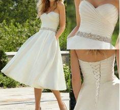 White / Ivory Short Wedding Dress Bridal Gown, beaded satin bridal wedding dress, knee-length beach wedding dress prom dress