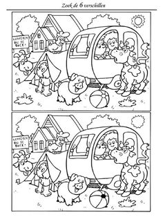 differences search the Finde die Unterschiede Puzzles For Kids, Worksheets For Kids, English Activities, Activities For Kids, Find The Difference Pictures, Hidden Pictures, Picture Puzzles, Hidden Objects, Camping Theme