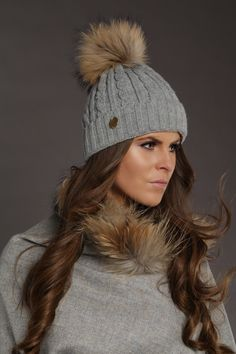 5ce44cdfbc9 Holland-Cooper-Cable Knit Fur Bobble Hat (Grey)-31 Grey Beanie