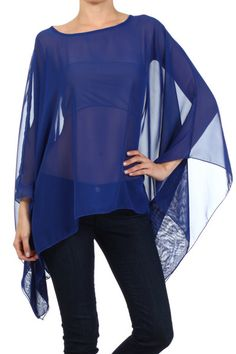 Modern Kiwi Solid Sheer Chiffon Caftan Poncho Tunic Top Royal Blue One Size Sheer Top Outfit, Sheer Chiffon, Spring Summer Fashion, Designer Dresses, High Fashion, Tunic Tops, My Style, Outfits, Clothes
