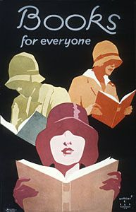 Historic poster promoting literacy and recreational reading. Illustration by Robert E. Lee.
