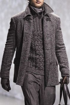 Men's Charcoal Plaid Overcoat, Charcoal Knit Shawl Neck Sweater, Charcoal Wool… Stylish Mens Outfits, Mens Clothing Styles, Men Sweater, Suit Jacket, Men's Knits, Jacket, Suit Jackets, Smoking Jacket