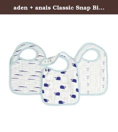 aden + anais Classic Snap Bib 3 Count, High Seas, 1 Pack. Our 100% cotton muslin classic snap bib features three snaps conveniently located in the front for an adjustable fit and easy fastening. And not to worry, the messier it gets, the better. We pre-wash our muslin so it's super soft from the start and stays that way wash after wash. Finally, a bib that grows with your baby and lasts through washes!.