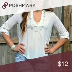 << Chiffon Simple White Top >> NWT from my boutique   This cute little top is the perfect simple addition to any outfit. Wear it with jeans or leggings!  Loose fitting Chiffon Material  Fits true to size with a loose hang Boutique Tops