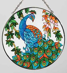 Peacock Stained Glass Suncatcher