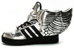 Women Adidas JS Wings 2.0 Silver Black Sneakers// Im not a fan but a most pin *shrugs