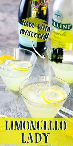 This bright, tart, and sparkling cocktail is made with Limoncello and Prosecco for a light and refreshing summer cocktail! recipe summer Limoncello Lady - A 3 Ingredient Prosecco Cocktail Refreshing Summer Cocktails, Fun Cocktails, Summer Drinks, Cocktail Drinks, Fun Drinks, Cocktail Recipes, Party Drinks, Light Alcoholic Drinks, Frozen Cocktails