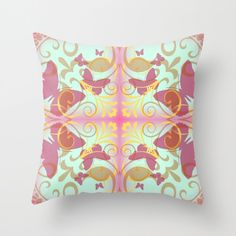 Stained Glass Pink Butterflies- Throw Pillow by NNPinksDesigns on Etsy