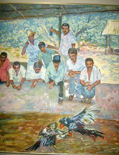 "Obra de arte, artista Pedro Gentil, ""Pelea de gallos"", Venezuela, estado Anzoátegui, considerado paisajista Venezolano."