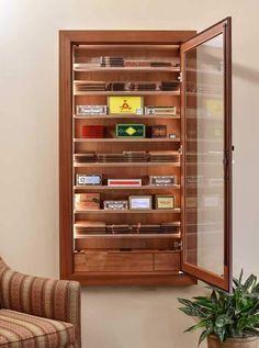 Reliance 550 Wall Cigar Humidor - By Vigilant - Wine Cellar Creations Cigar Lounge Decor, Cigar Lounge Man Cave, Cigar Humidor Cabinet, Cigar Bar, Cigar Room, Man Cave Home Bar, Wine Cellar, Bars For Home, Adjustable Shelving