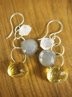 Citrine and Moonstone 3 Stone Drop Earrings - Melissa Joy Manning. Love the grey and yellow combo!