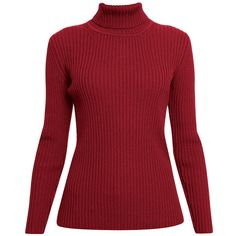 Rumour London - Mia Red Ribbed Turtleneck Sweater ($165) ❤ liked on Polyvore featuring tops, sweaters, shirts, jumpers, ribbed turtleneck sweater, ribbed turtleneck, shirt sweater, red shirt and rib shirt