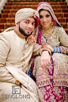 Magnificent Bride in Magenta and Beige Pakistani Bridal Gown Asian Wedding Dress, Indian Wedding Couple, Asian Bridal, Desi Wedding, Wedding Couples, South Asian Bride, South Asian Wedding, Indian Marriage, Muslim Brides