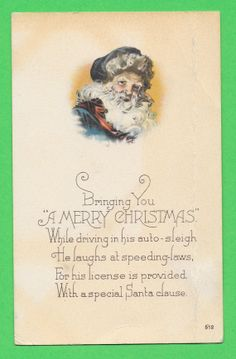 A Merry Christmas Antique Santa Postcard by ifoundthat on Etsy, $15.00