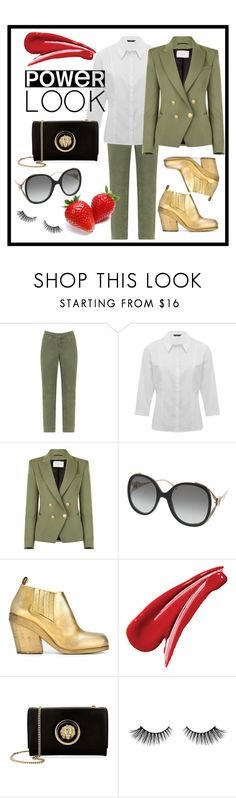 """""""Power look"""" by jesseward ❤ liked on Polyvore featuring Silver Jeans Co., M&Co, Pierre Balmain, Gucci, Marsèll, Versus, Morphe, girlpower and powerlook"""