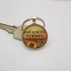 Key Chain ~ Glass Dome Quote ~ I'll do What's Best for Me  ~ Silver 1 Inch 25 mm Glass Cabochon  ~ Color Print ~ Inspirational ~ Key Ring www.sgtpepperscreations.etsy.com #sgtpepperscreations #keychain #inspirationalquote #glassdomekeychain