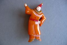 Vintage Bakelite Martha Sleeper Clown Pin Brooch via By Franca. Click on the image to see more!