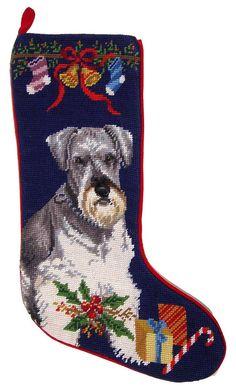 "Miniature Schnauzer Dog Christmas Needlepoint Stocking - 11"" x 18"""