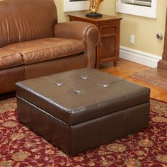 Westridge Brown Leather Storage Ottoman