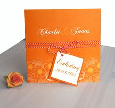 """Einladungskarte Hochzeit """"mandarin"""" von moments auf DaWanda.com"""