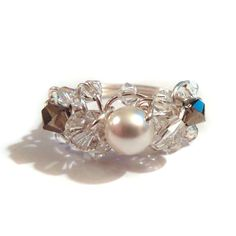 Silver Pearl Ring - Wire Wrapped Ring with Swarovski Crystals