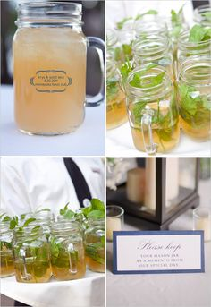 love this idea- mason jar mugs for guests to drink out of and then keep as their favor!