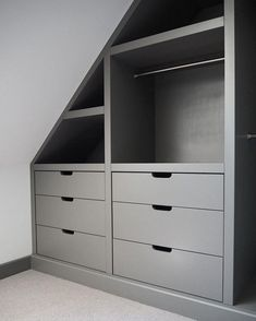 A drawer unit, part of a walk in wardrobe. Making the handles integrated to the drawer fronts gives a practical yet flush and clean finish. Attic Bedroom Storage, Attic Bedroom Designs, Closet Designs, Bedroom Loft, Attic Wardrobe, Wardrobe Drawers, Walk In Wardrobe, Walk In Closet Small, Eaves Storage