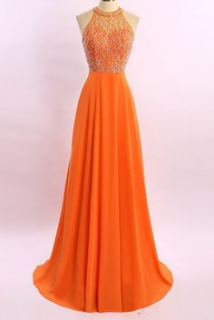 Orange chiffon see-through beading rhinestone A-line long prom dresses ,shining evening dresses