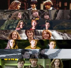 Transformation of Harry Potter, Hermione Granger and Ron Weasley... Including the awkward long hair phase