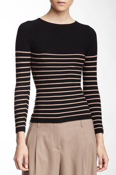 """Striped Sweater in black by Giorgio Armani $543 - $169 at HauteLook. - Allover stripes - Knit construction - Approx. 22"""" length - Made in Italy Fit: this style fits true to size. Model's stats: - Height: 5'10"""" - Bust: 31"""" - Waist: 24"""" - Hips: 35"""" Model is wearing size 40. Hand wash 67% viscose, 33% polyester"""