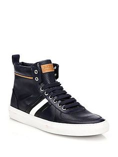 Bally Perforated Leather High-top Sneakers In Navy Prada Sneakers, Blue Sneakers, Leather Sneakers, High Top Sneakers, Shoes Sneakers, Hot Shoes, Men's Shoes, Dress Shoes, Nike Fashion