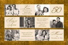 Golden Anniversary Invitation - Six Photo Showcase - Wedding . Anniversary Plans, Anniversary Gifts For Parents, Golden Anniversary, Anniversary Parties, 50th Wedding Anniversary Invitations, Wedding Invitation, Ivory, Party Ideas, Invites