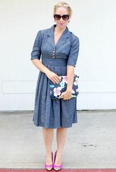 style soft denim dress with three quarter length sleeves