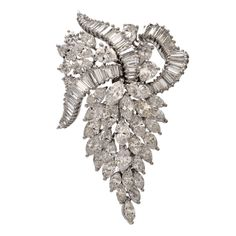 Diamond Platinum Grape Leaf Cluster Brooch Pin | From a unique collection of vintage brooches at https://www.1stdibs.com/jewelry/brooches/brooches/