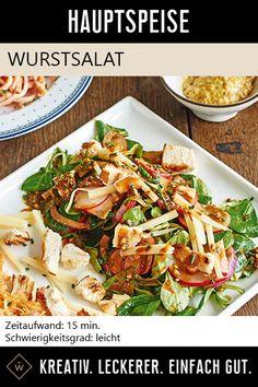 Bayerischer Wurstsalat noch leckerer – mit der Bier Crema! Pasta Salad, Meat, Chicken, Ethnic Recipes, Food, Leafy Salad, Salads, Kochen, Crab Pasta Salad