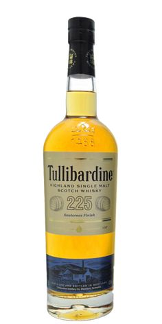 Tullibardine 225 Sauternes Finish. After its first beauty sleep in in ex-Bourbon American oak casks, this Single Malt Scotch enjoys a one year finish in Sauternes casks from Chateau Suduirat, France.