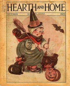 Vintage Halloween Vintage Halloween Vintage Halloween Postcards vintage style The tremendously cute October 1925 cover of Hearth and Home ma. Retro Halloween, Halloween Fotos, Vintage Halloween Photos, Halloween Pin Up, Halloween Pictures, Vintage Holiday, Holidays Halloween, Halloween Crafts, Haunted Halloween